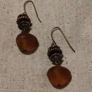 Stone and Bead Dangle Drop Earrings
